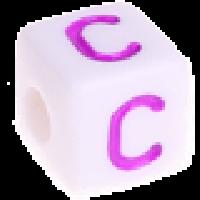 Cubo blanco abecedario 10x10 mm letras colores - Letra C