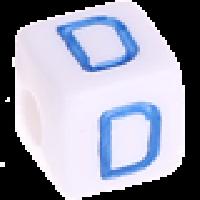 Cubo blanco abecedario 10x10 mm letras colores - Letra D