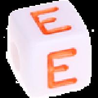 Cubo blanco abecedario 10x10 mm letras colores - Letra E