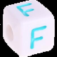 Cubo blanco abecedario 10x10 mm letras colores - Letra F