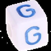 Cubo blanco abecedario 10x10 mm letras colores - Letra G