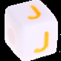 Cubo blanco abecedario 10x10 mm letras colores - Letra J