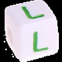 Cubo blanco abecedario 10x10 mm letras colores - Letra L