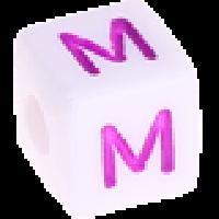 Cubo blanco abecedario 10x10 mm letras colores - Letra M