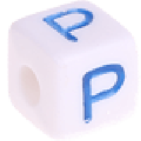 Cubo blanco abecedario 10x10 mm letras colores - Letra P