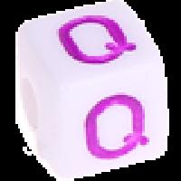 Cubo blanco abecedario 10x10 mm letras colores - Letra Q