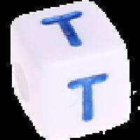 Cubo blanco abecedario 10x10 mm letras colores - Letra T