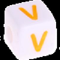 Cubo blanco abecedario 10x10 mm letras colores - Letra V