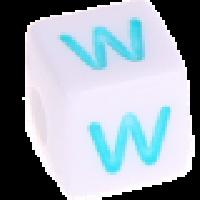 Cubo blanco abecedario 10x10 mm letras colores - Letra W