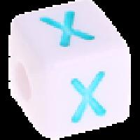 Cubo blanco abecedario 10x10 mm letras colores - Letra X
