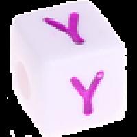 Cubo blanco abecedario 10x10 mm letras colores - Letra Y
