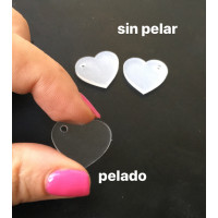 Plexy transparente incoloro - Colgante corazon 20 mm