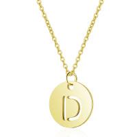 Inicial letra D - Gargantilla acero dorado moneda inicial 12 mm, 40 +5 cm largo