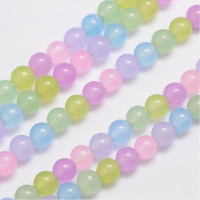 Hilera bolas de gema natural JADE 6 mm mix pastel hilera 60 uds)
