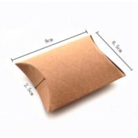 Cajita almohada de carton kraft liso- Pequeña - 90x65x25 mm