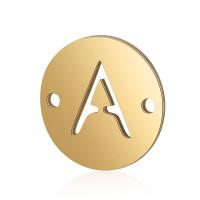 Letra A - Entrepieza inicial acero dorado 12 mm, int 0.8 mm