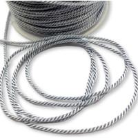 Cordón de poliamida torzado twist color pastel Gris Claro - 1 metro