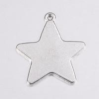 Estrella charm  plata tibetana 28x26 mm, int 1.5 mm
