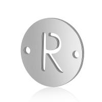 Letra R - Entrepieza inicial acero plateado 12 mm, int 0.8 mm
