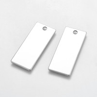 Chapa rectangular Tag acero inoxidable 38x16 mm, int 3 mm