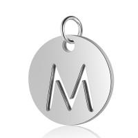 Moneda inicial letra M- Acero inoxidable plateado 12 mm con anilla