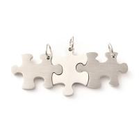Triple colgante puzzles acero inox plateado 25x17.5 mm encajables (3 pcs)
