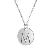 Inicial letra M - Gargantilla acero plateado moneda inicial 12 mm, 40 +5 cm largo