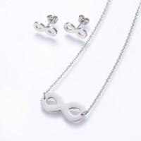 Infinito - Conjunto collar y pendientes de acero plateado