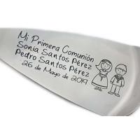Paleta acero borde puntitos - Grabada personalizada para comuniones