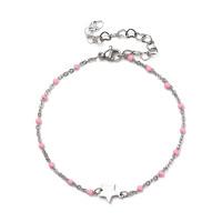 Pulsera estrella y puntos enamel rosa - Acero inoxidable plateado - 19 cm + extendedora corazones