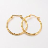 Pareja pendientes acero inoxidable - Aros dorados 30 mm