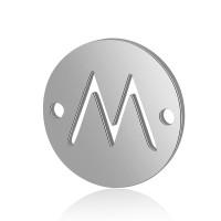 Letra M - Entrepieza inicial acero plateado 12 mm, int 0.8 mm