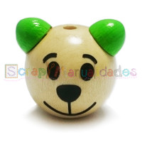 Figurita 3D madera PREMIUM- Osito sonriente 25 mm - Nat/verde