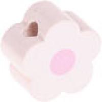 Figurita de madera PREMIUM- Florecita blanco/rosa bebe 16x16 mm
