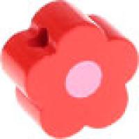 Figurita de madera PREMIUM- Florecita rojo/rosa 16x16 mm