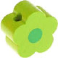 Figurita de madera PREMIUM- Florecita lima/verde 16x16 mm