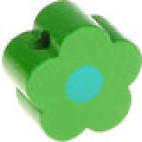 Figurita de madera PREMIUM- Florecita verde/celeste 16x16 mm