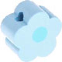Figurita de madera PREMIUM- Florecita azul bebe/celeste 16x16 mm