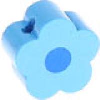 Figurita de madera PREMIUM- Florecita celeste/azulmedio 16x16 mm