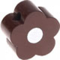 Figurita de madera PREMIUM- Florecita marron/blanco 16x16 mm