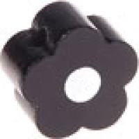 Figurita de madera PREMIUM- Florecita negro/blanco 16x16 mm