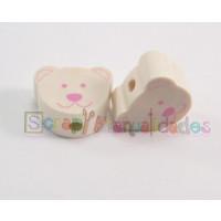 Figurita  madera PREMIUM- Osito 18 mm- Natural y rosa