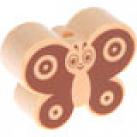 Figurita madera PREMIUM- Mariposa  28x22 mm- Natural/ choc