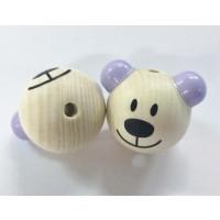 Figurita 3D madera PREMIUM- Osito natural/lila 25 mm