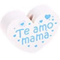 Figurita PREMIUM- Corazon Te amo mama 30x25 mm - Blanco/celeste