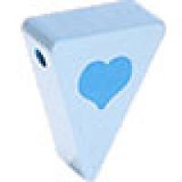 Figurita PREMIUM-  Banderin corazon 20x25x8 mm - Azul b/celeste