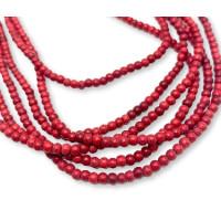 Hilera de gema natural Turquesa roja grana mini  3 mm (140 pcs aprox hilera)