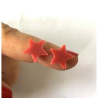 Plexy rojo - Aplique estrella 12 mm ( sin taladros)- 2 uds