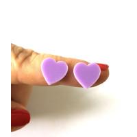 Plexy lila - Aplique corazon 12 mm ( sin taladros)- 2 uds