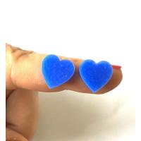 Plexy azul - Aplique corazon 12 mm ( sin taladros)- 2 uds